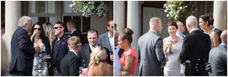 Guests mingle at Eaves Hall wedding venue