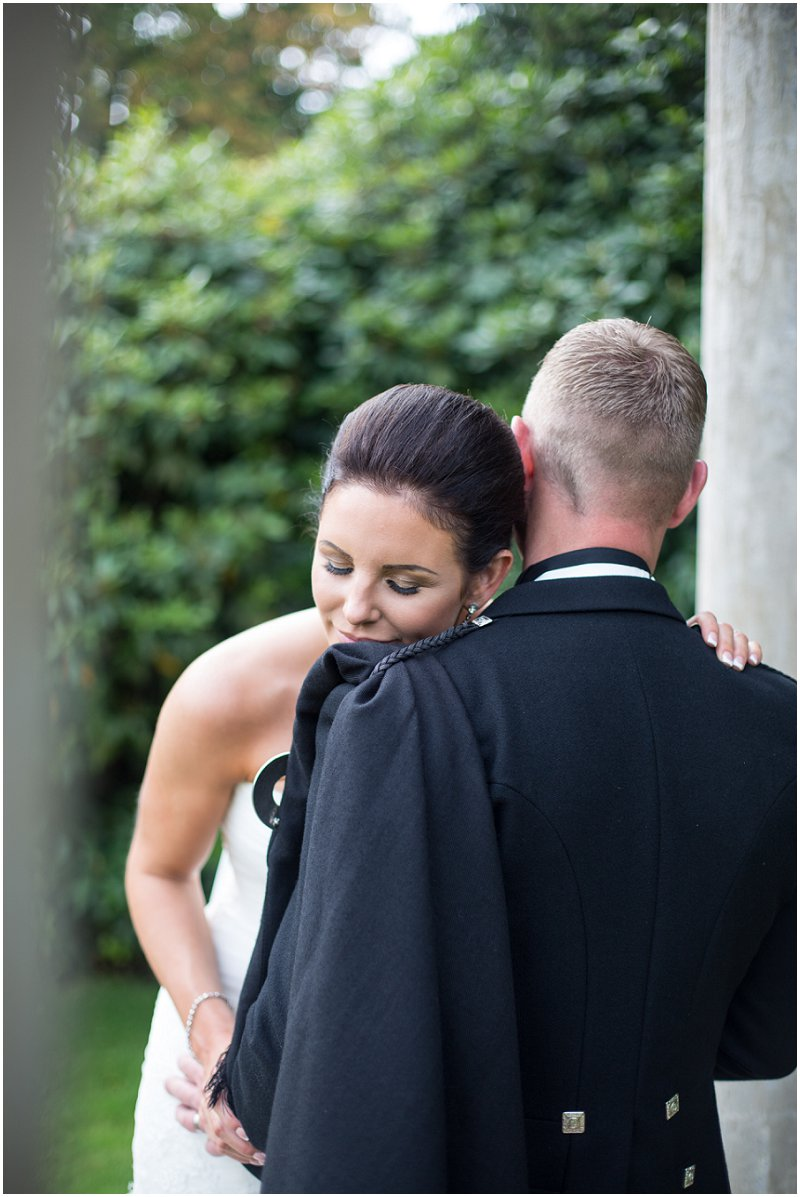 Bride and groom during portraits at Eaves Hall Wedding