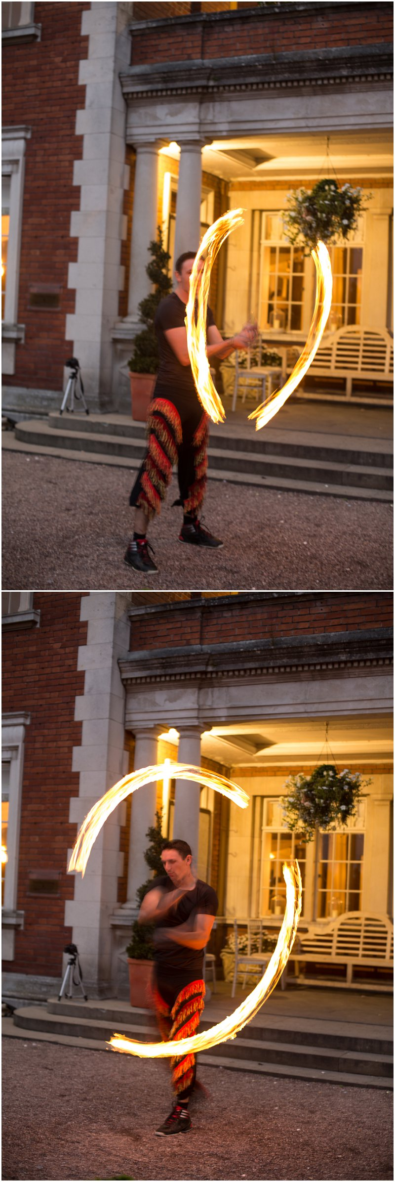 Fire performers at Eaves Hall wedding