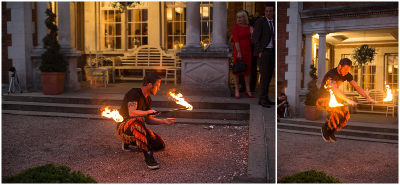Fire performers at wedding reception