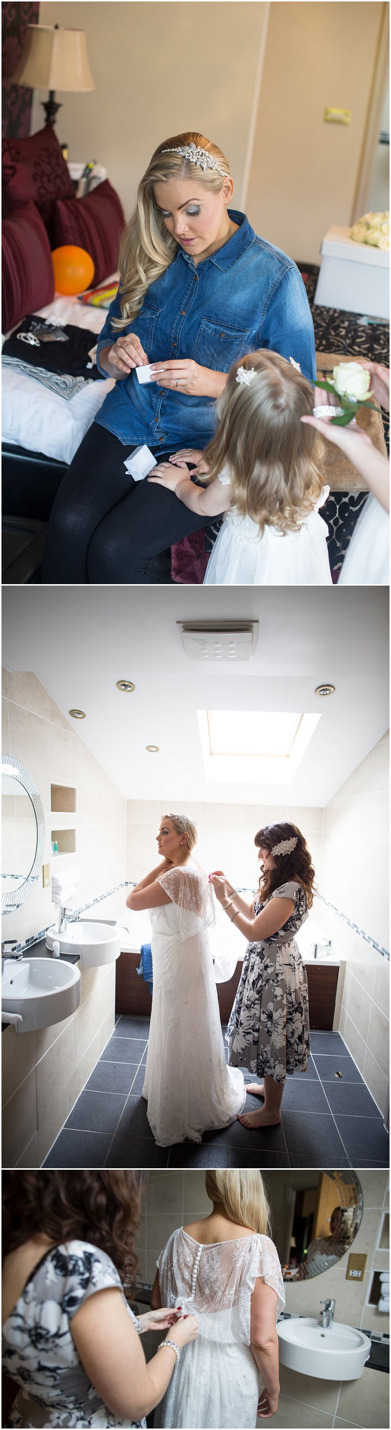 Bride and daughter getting ready