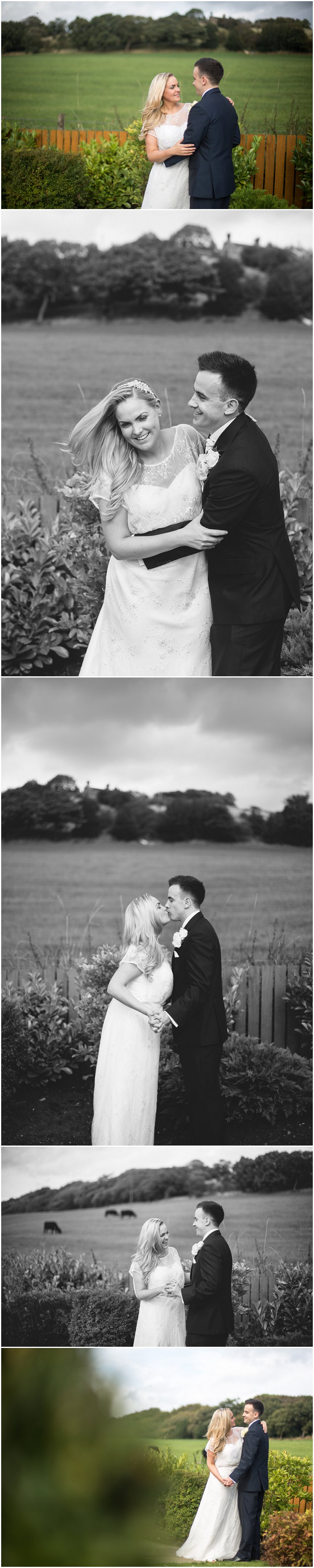 Bride and groom during couples portraits in Bury wedding