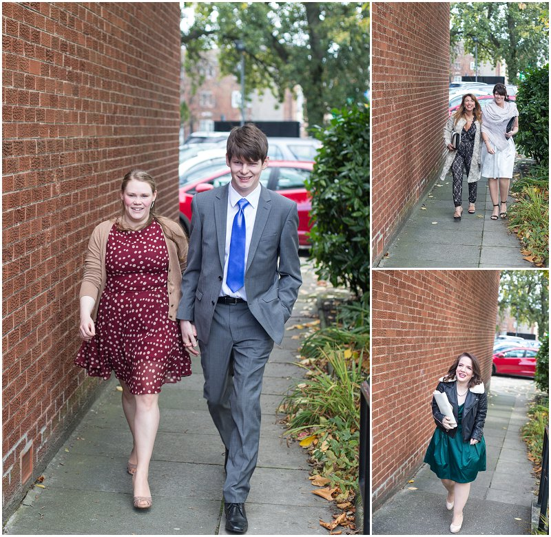 Guests arrive at wedding ceremony Chester