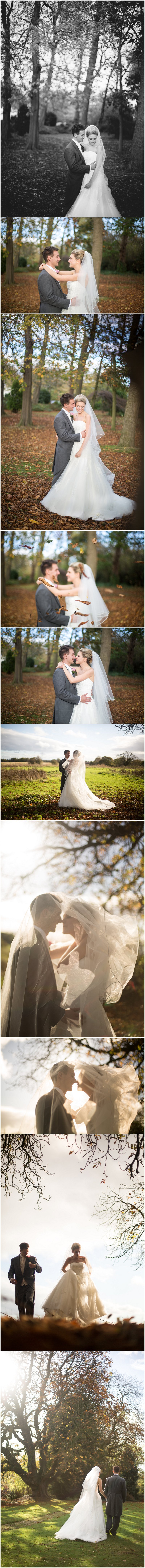 Beautiful Bride and groom in grounds of Crabwall Manor