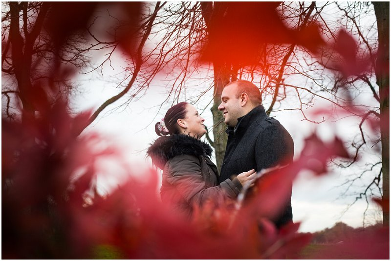 Framed by a red tree pre wedding shoot