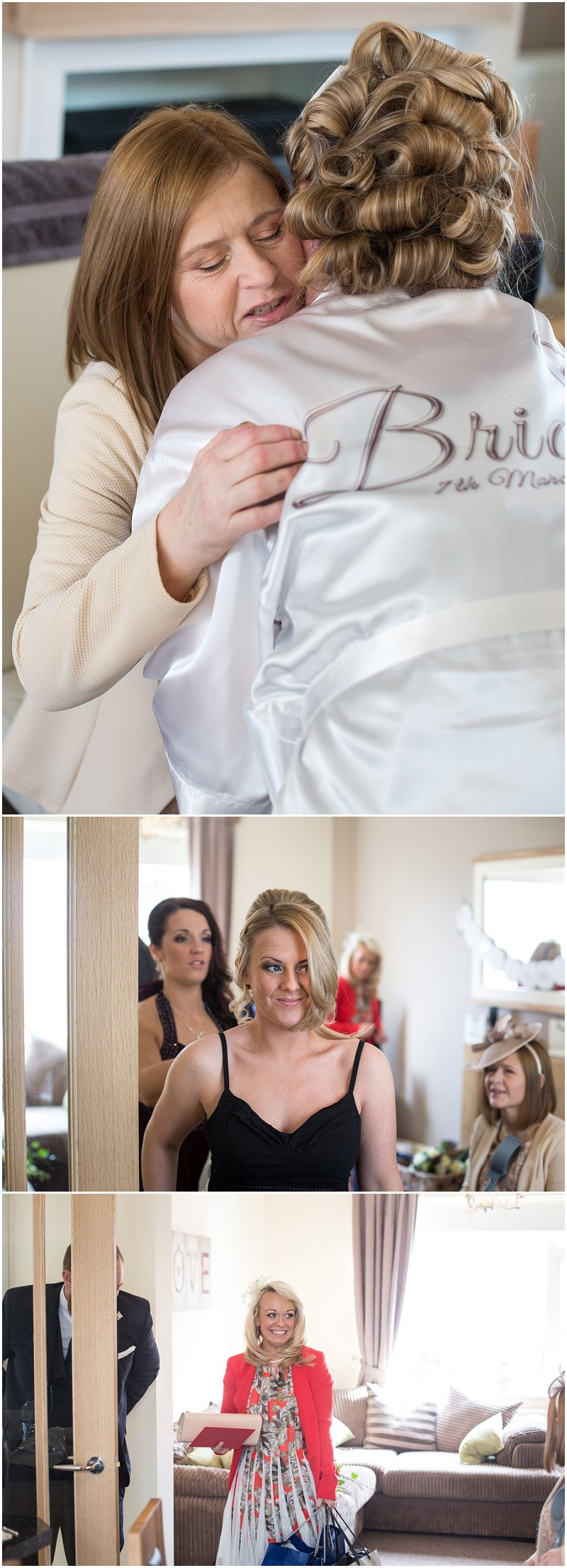 Mother of the Bride gives bride a hug on wedding morning