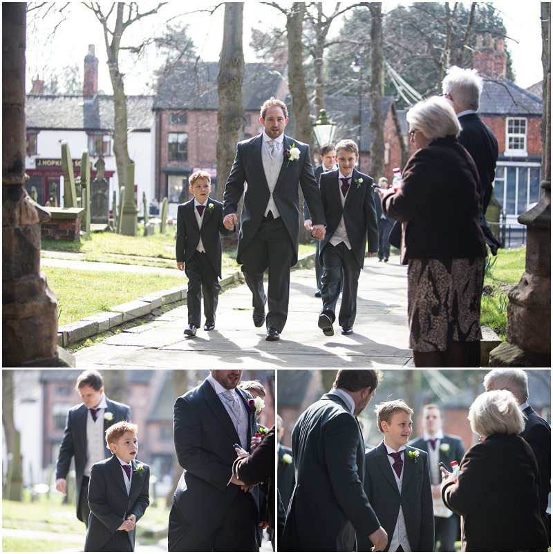 Groom arrives at church in Sandbach
