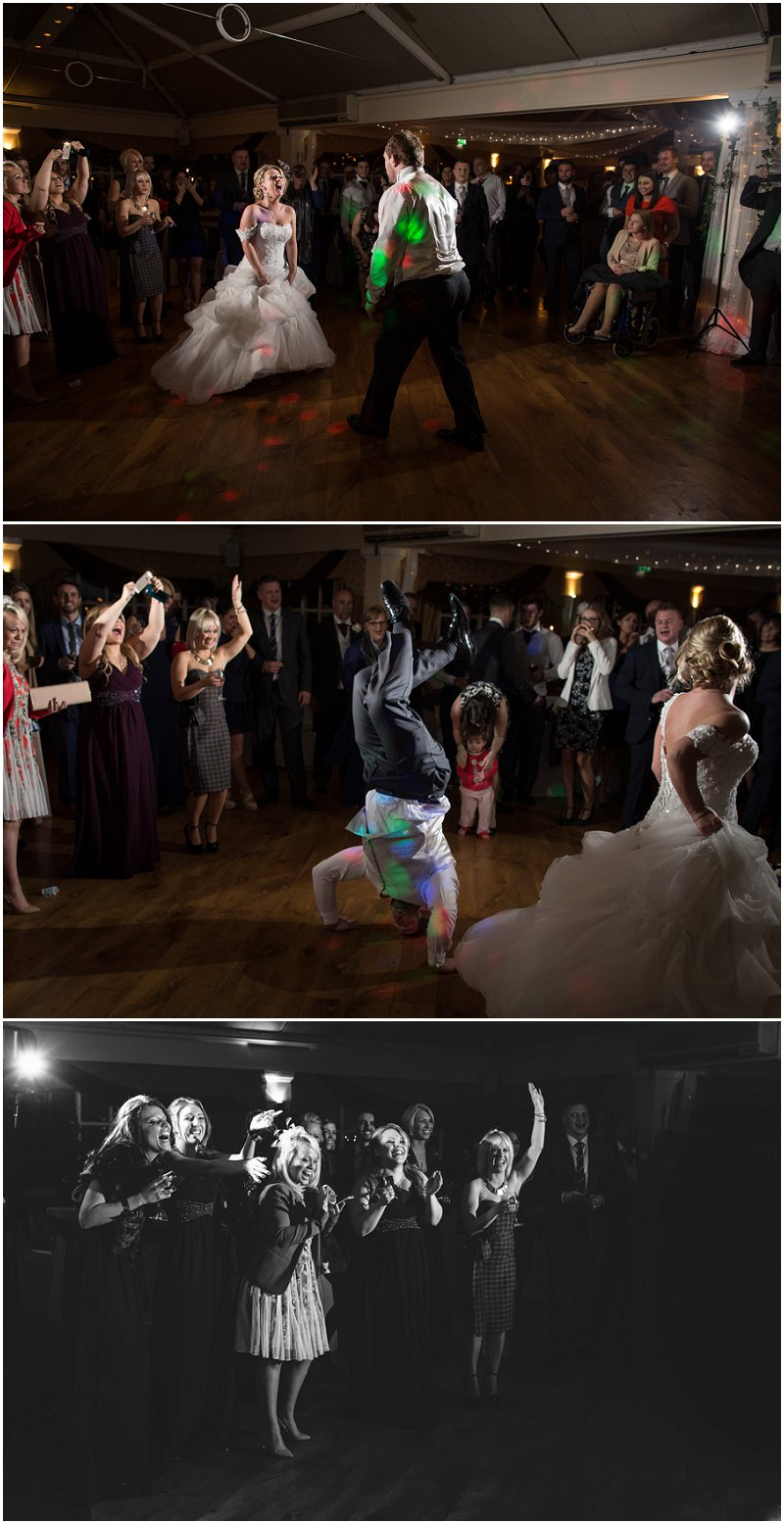 Bride and Groom get down during evening reception at The Mere Court Hotel Cheshire