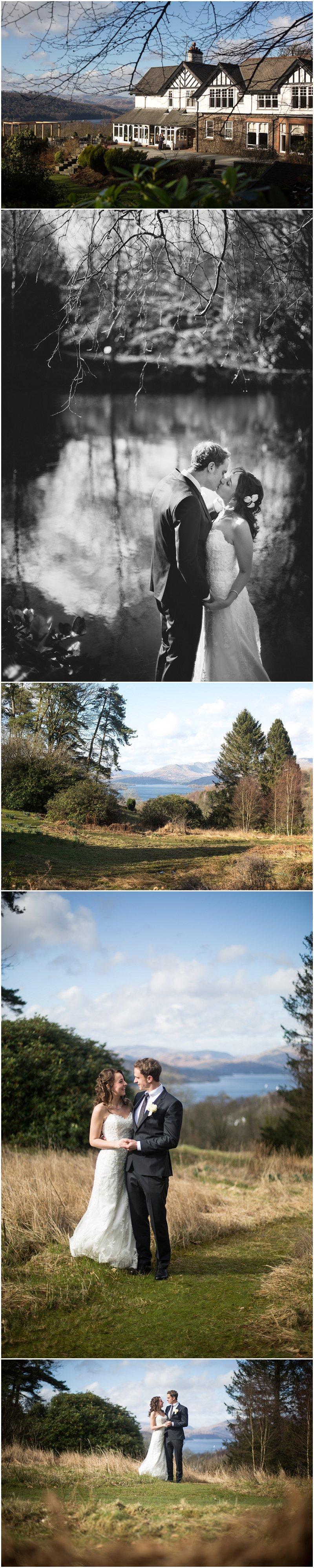 Bride and Groom portraits overlooking Windermere Cumbria