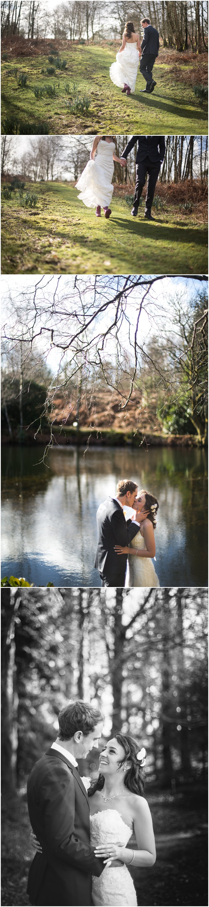 Bride and Groom walk around the tarn at Linthwaite House during portraits