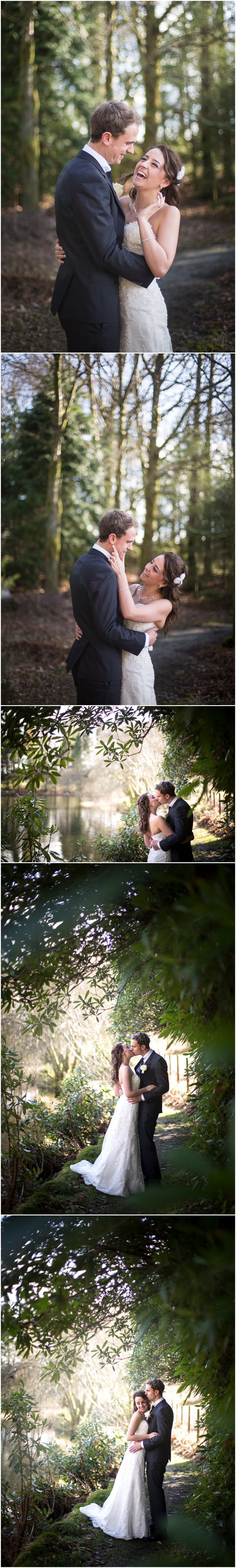 Beautiful light during bride and groom portraits around tarn at Linthwaite House Hotel