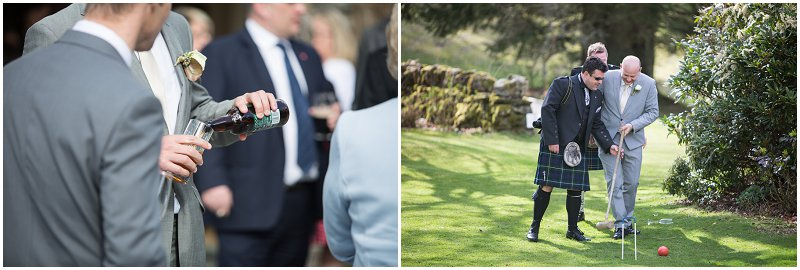 wedding guests at Linthwaite enjoying the outdoors during reception