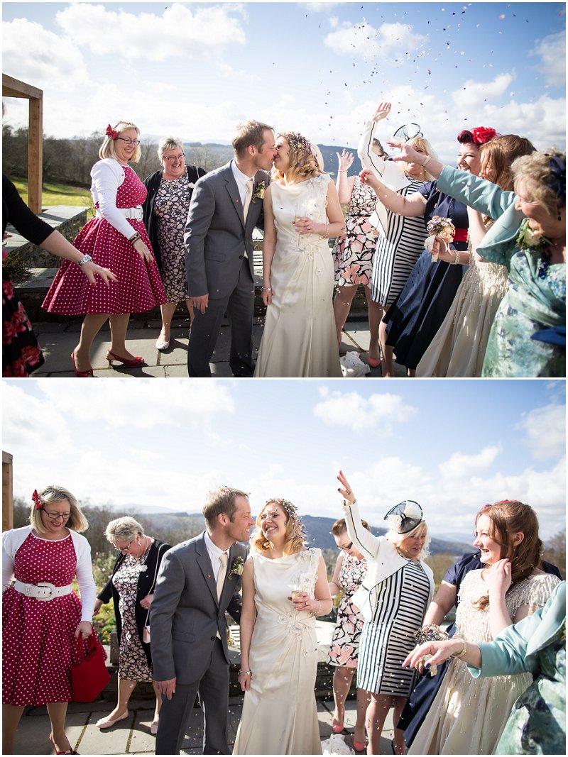 Confetti at Linthwaite House Hotel wedding in Cumbria