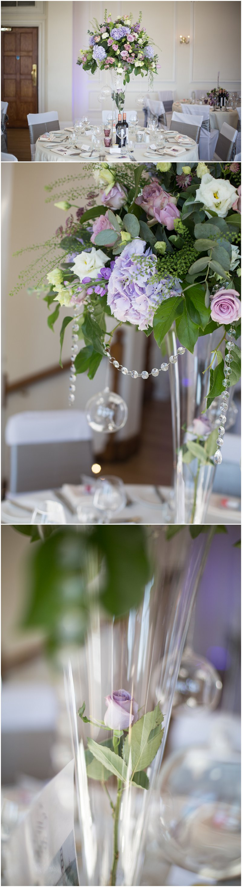 Beautiful table decorations at West Tower wedding venue