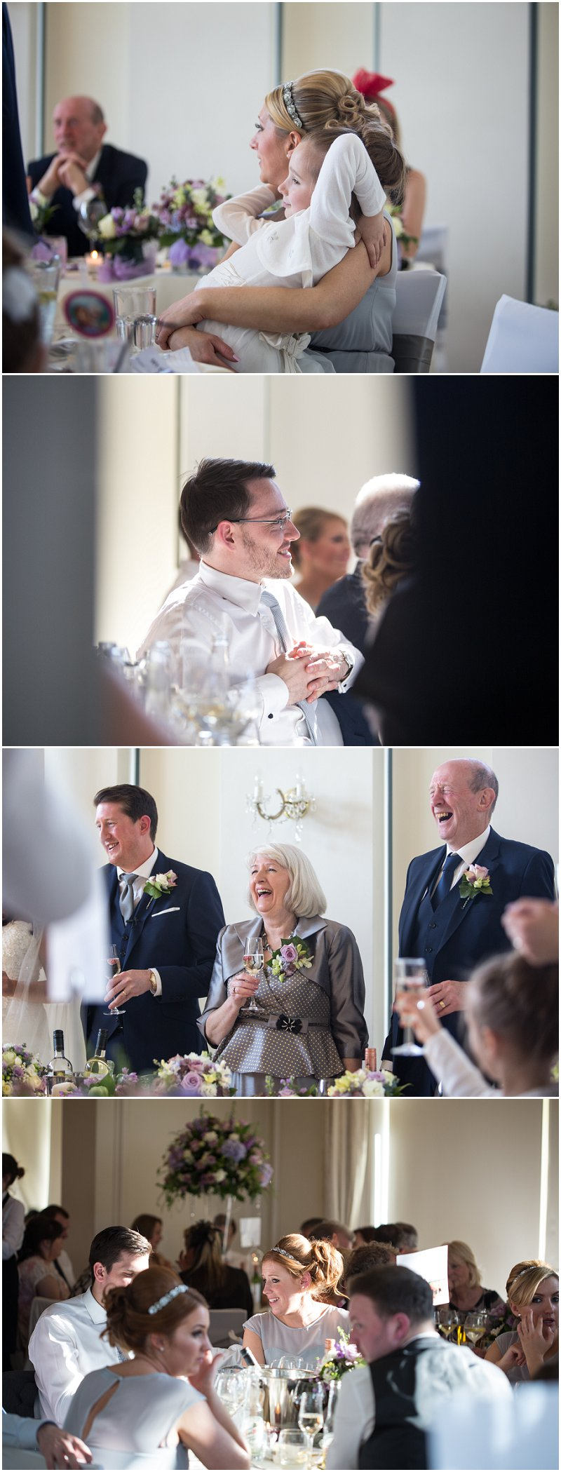 Guests enjoying speeches during Liverpool wedding