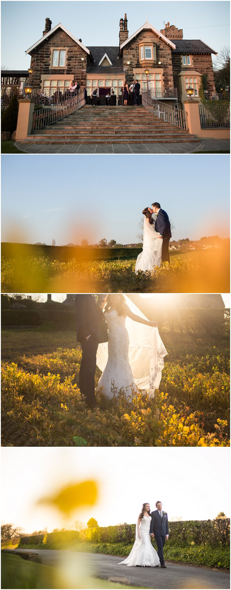 Golden hour shots of bride and groom at West Tower wedding venue