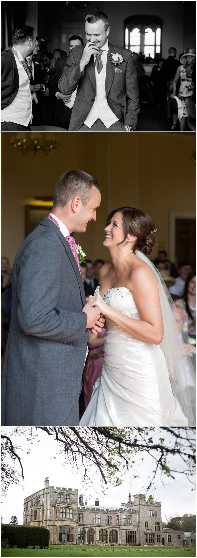 Bride and Groom wedding ceremony at Armathwaite Hall in Cumbria Photography