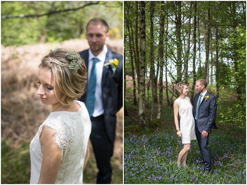 Bride and groom on wedding day at Linthwaite House Hotel