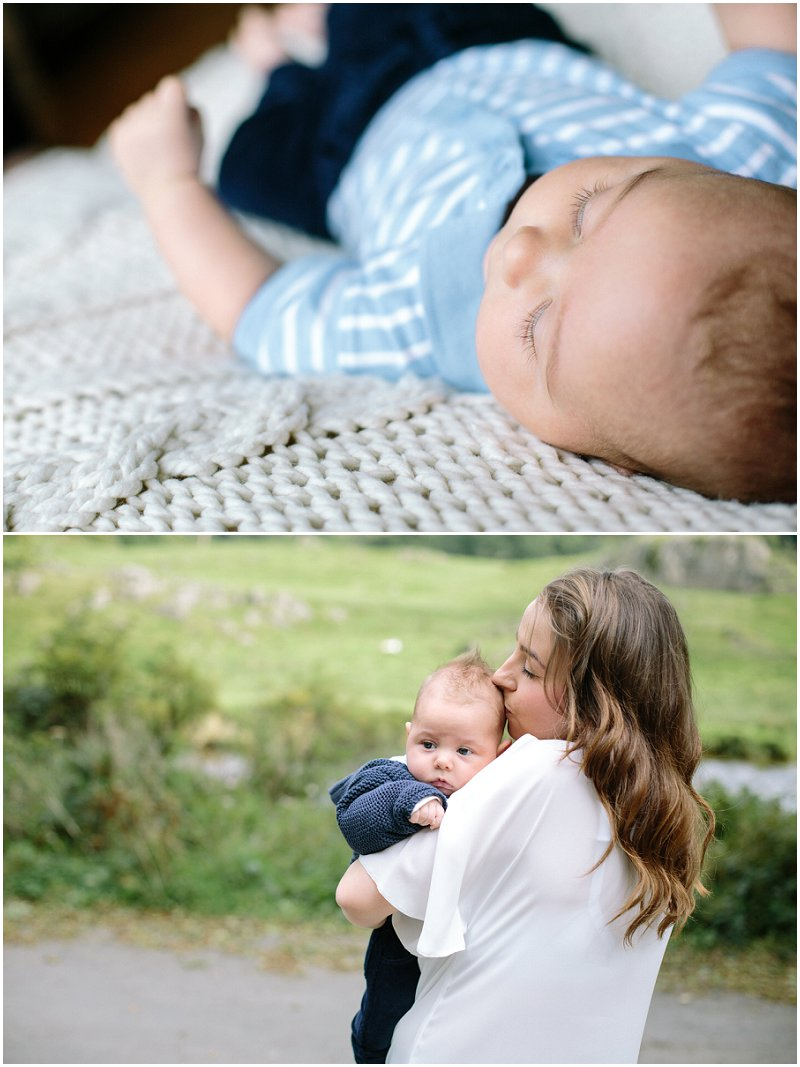Gorgeous baby boy during photo shoot in Cumbria