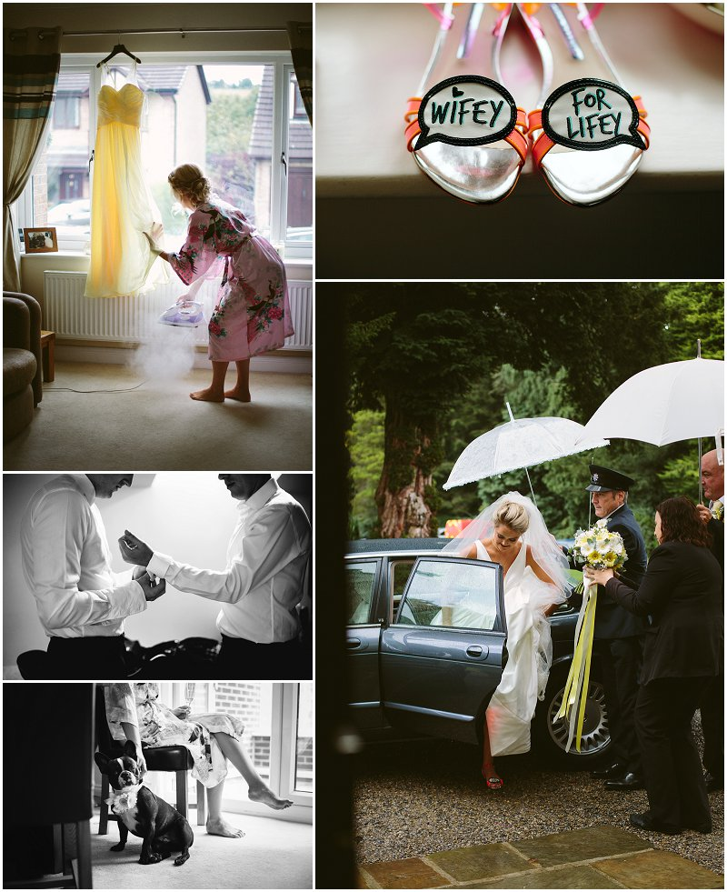 Bride and groom prep at Mitton Hall