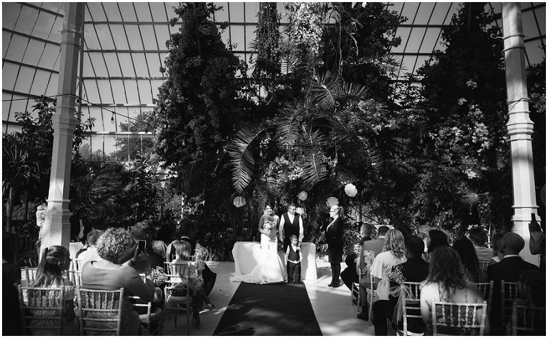 Ceremony at Sefton park wedding photographer Palm House