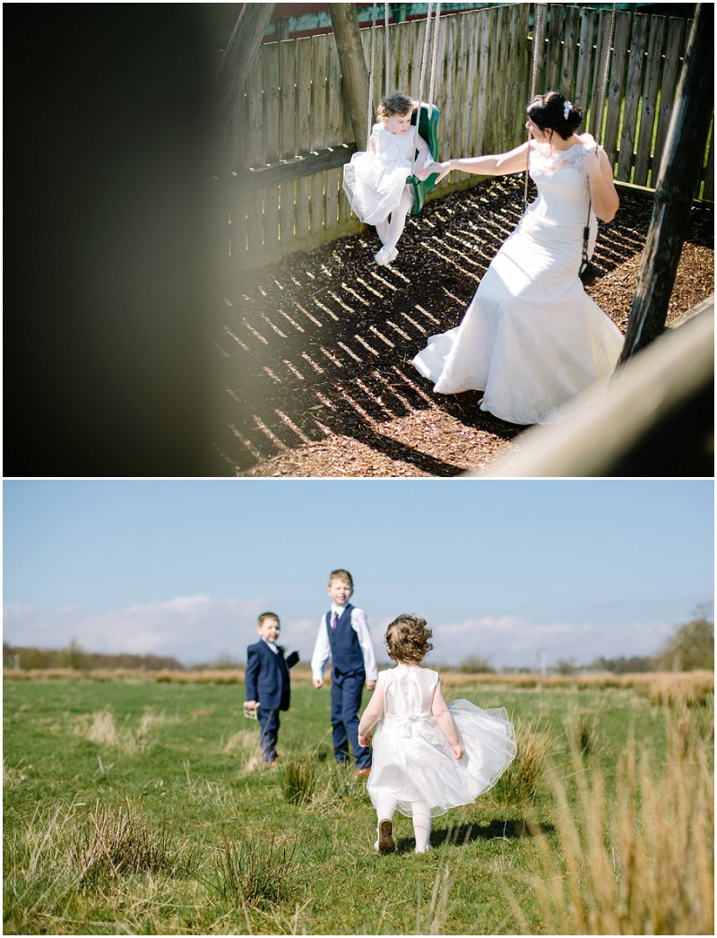 Kids of bride and groom at wedding playing in field