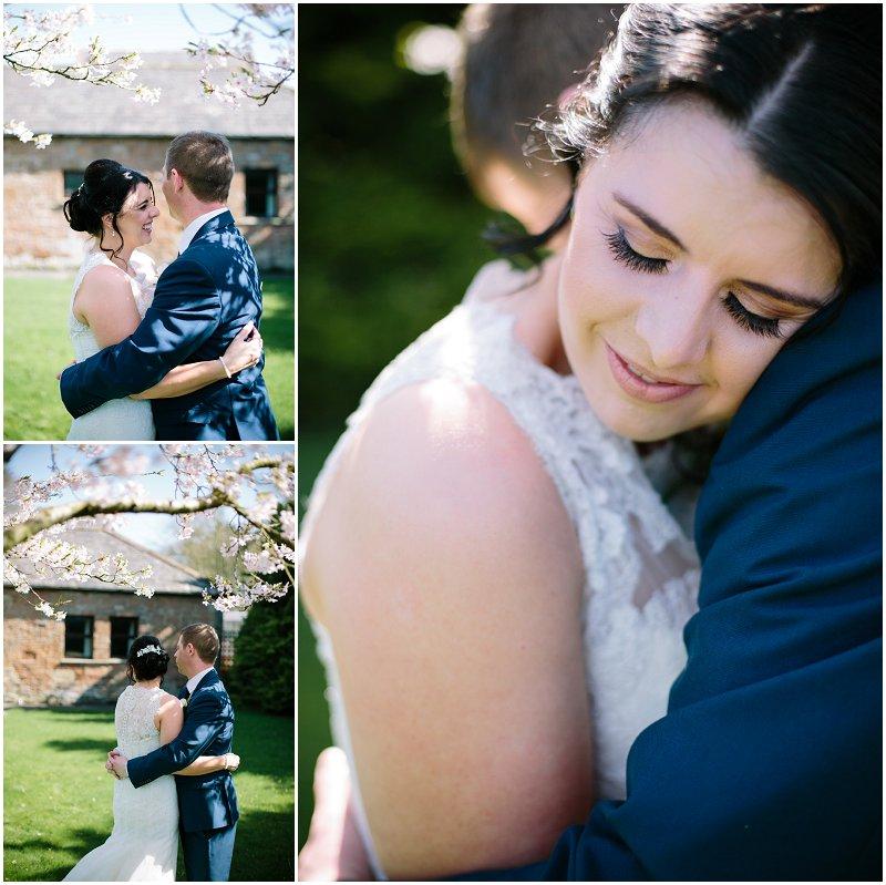 Wedding portraits bride and groom cherry blossoms