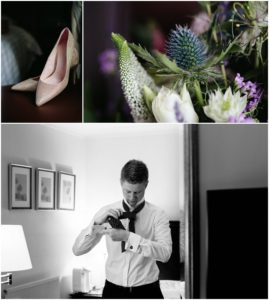 Bride and groom prep photos