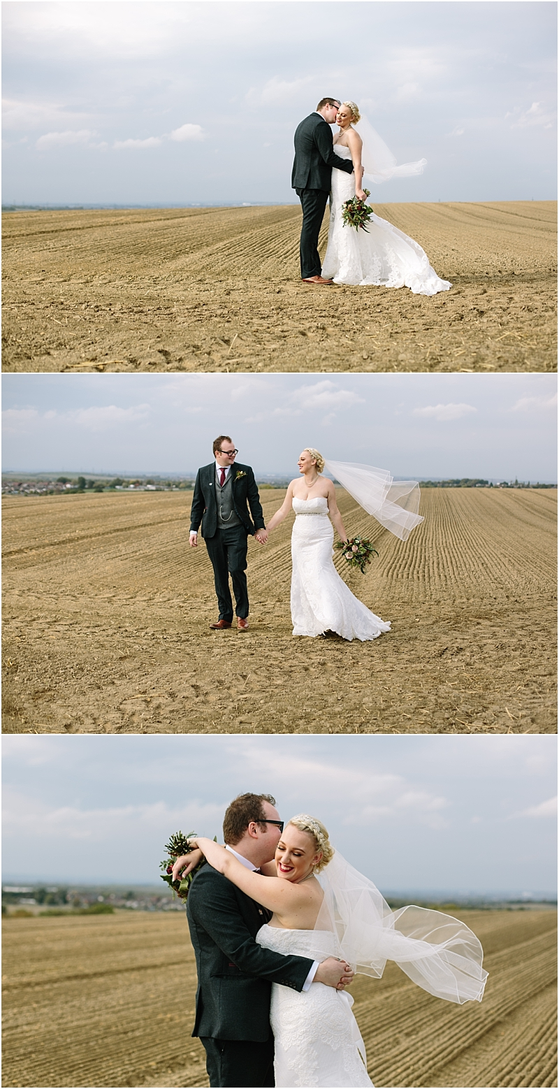 Bride and Groom in dirt field Pontefract