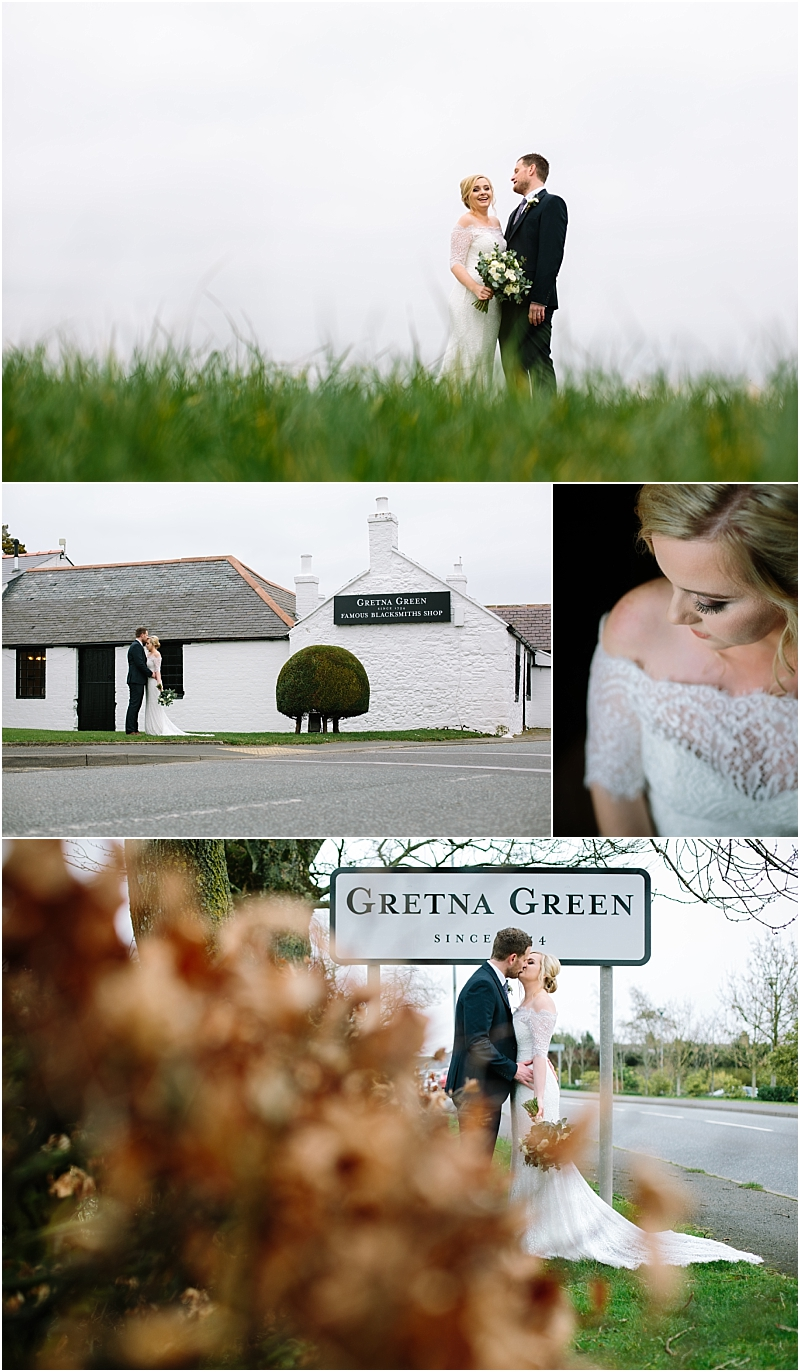Bride and groom at Gretna Green Blacksmiths