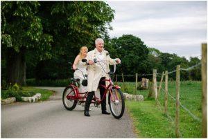 Wedding wales bride and groom Tandem bike