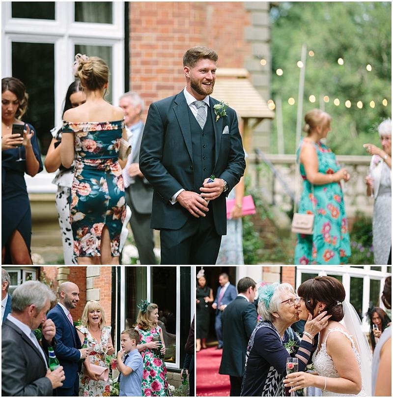 Guests greet bride and groom